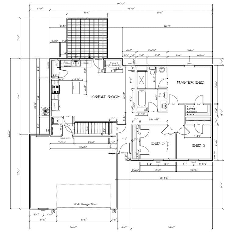 1200-2.5-car 1200 Floor Plan - 2.5 Car Garage