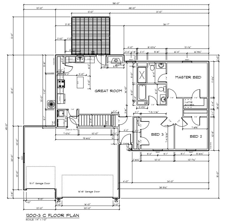 1200-3-car 1200 Floor Plan - 3 Car Garage