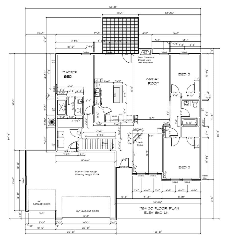 1784-Floor-Plan-3-Car 1784 Floor Plan - 3 Car